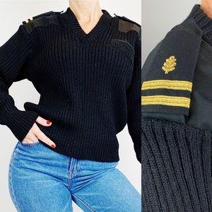 Vintage Black Military Wool Sweater C120
